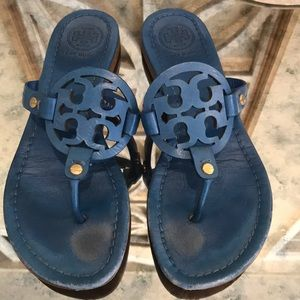 TORY BURCH MILLER SANDAL DEEP TEAL SZ 7 FAIR COND
